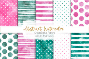 Print on Demand: Abstract Watercolor Digital Papers Set 1 Graphic Backgrounds By loyaarts