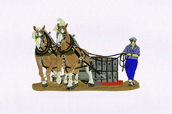 Aiding Pulling Horses Farm & Country Embroidery Design By DigitEMB