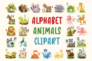 Print on Demand: Alphabet Animals Clipart (26 Images) Graphic Illustrations By MikeToon Studio