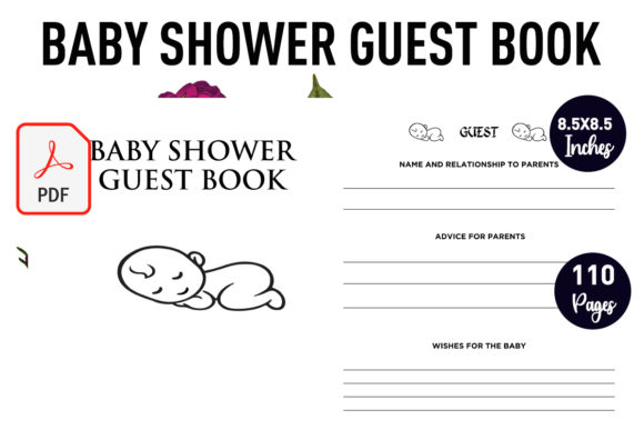 Print on Demand: Baby Shower Guest Book _ KDP Interior Graphic KDP Interiors By Gurus Kdp Templates
