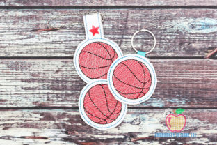 Basketball ITH Snaptab Keyfob Sports Embroidery Design By embroiderydesigns101