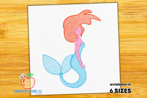 Beautiful Mermaid Sketch Fairy Tales Embroidery Design By embroiderydesigns101