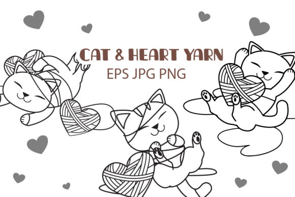 Bundle of Cat with Heart Yarn WB .ver Graphic Illustrations By Guppic the duck