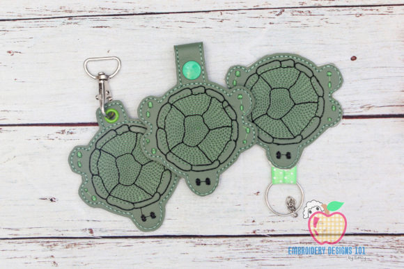 Cartoon Tortoise ITH Snaptab Keyfob Reptiles Embroidery Design By embroiderydesigns101