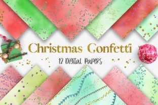 Print on Demand: Christmas Watercolor Confetti Glitter Graphic Backgrounds By PinkPearly