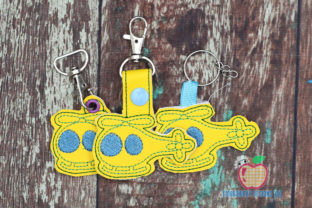 Colored Cartoon Helicopter ITH Key Fob Transportation Embroidery Design By embroiderydesigns101