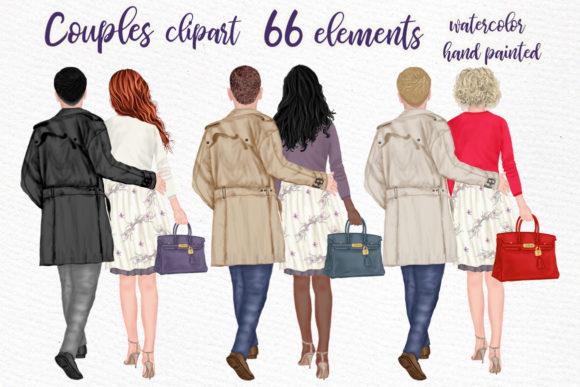 Couples Clpart Elegant Man and Women Graphic