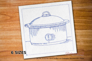Crock Pot Redwork House & Home Quotes Embroidery Design By Redwork101