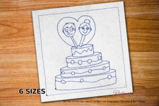 Cute Couple Face with Cake Redwork Wedding Designs Embroidery Design By Redwork101