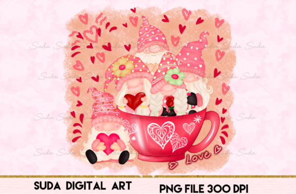 Print on Demand: Cute Gnomes Valentine's Day Sublimation Graphic Illustrations By Suda Digital Art