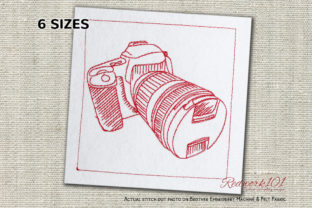 Digital Camera Work & Occupation Embroidery Design By Redwork101