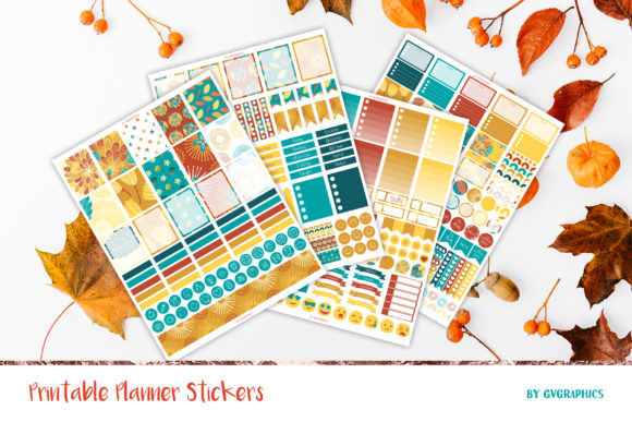 Fall Printable Planner Stickers Graphic Print Templates By GVGraphics