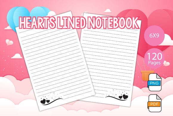 Print on Demand: Hearts Lined Notebook for KDP Interiors Graphic KDP Interiors By IsaraDesign