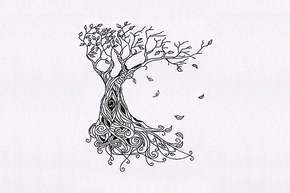Intricate Tree & Leave Design Forest & Trees Embroidery Design By DigitEMB