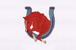Jumping Red Horse Design Horses Embroidery Design By DigitEMB
