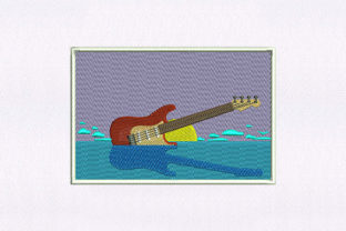 Ocean Electric Guitar Design Music Embroidery Design By DigitEMB