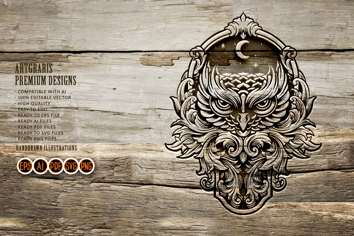 Owls Silhouette Decorations Clipart SVG File