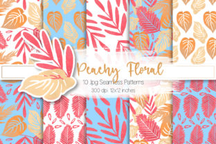 Print on Demand: Peachy Floral Seamless Patterns Graphic Patterns By MutchiDesign