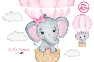 Print on Demand: Pink Hot Air Balloon Girl Elephant Graphic Illustrations By clipArtem