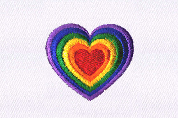 Rainbow Heart Valentine's Day Embroidery Design By DigitEMB