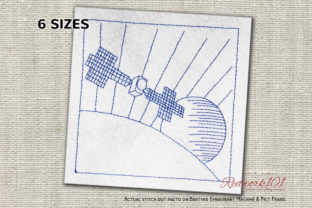 Satellite with Solar Panels Redwork Robots & Space Embroidery Design By Redwork101