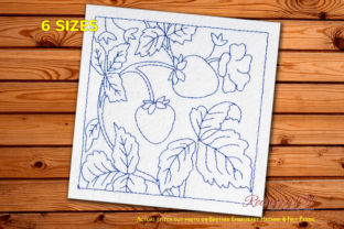 Strawberry with Leaves Redwork Food & Dining Embroidery Design By Redwork101