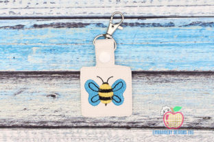 Striped Flying Bee in the Hoop Keyfob Bugs & Insects Embroidery Design By embroiderydesigns101