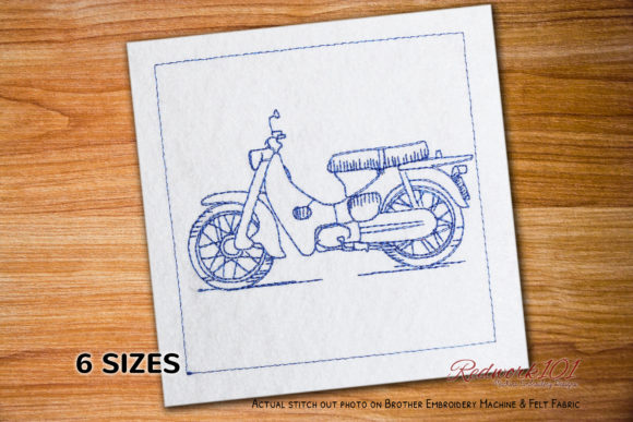 Super Cub Transportation Embroidery Design By Redwork101