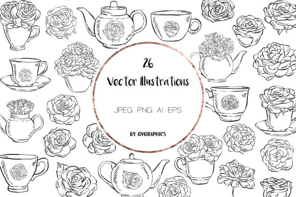 Tea Cups, Teapots and Roses Clipart Graphic Illustrations By GVGraphics