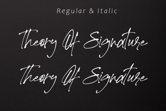 Print on Demand: Theory of Signature Script & Handwritten Font By aminmario