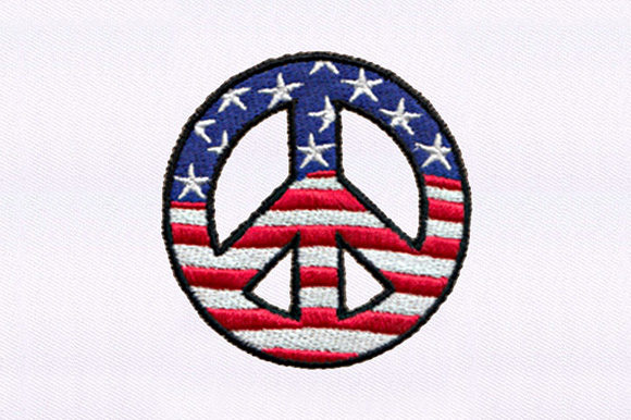 Us Flag Peace Symbol Independence Day Embroidery Design By DigitEMB