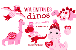 Print on Demand: Valentines Day Dinosaurs Graphic Illustrations By DigitalPapers