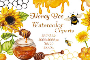 Watercolor Pack of Honey Clipart Graphic Objects By arevkasunshine