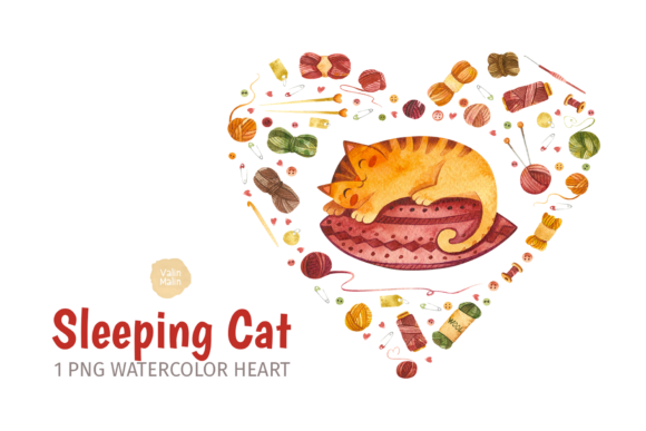 Print on Demand: Watercolor Cat and Crochet Clipart Graphic Illustrations By ValinMalin