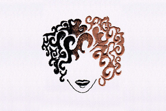 Wavy Haired Girl Design Beauty Embroidery Design By DigitEMB