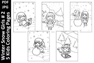 Winter Snow Girls #2 - 5 Coloring Pages Graphic Coloring Pages & Books Kids By Oxyp
