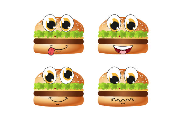 Print on Demand: Cute Hamburger Cartoon Graphic Illustrations By curutdesign
