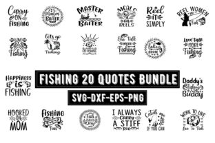 Print on Demand: Fishing 20 Quotes Bundle Graphic Print Templates By Design_store