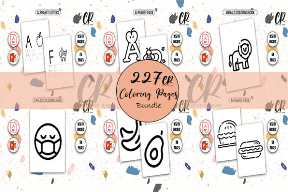 227 Coloring Pages for Kids Graphic Teaching Materials By Creative Ram