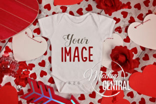 Baby White Valentine Onepiece Bodysuit Graphic Product Mockups By Mockup Central