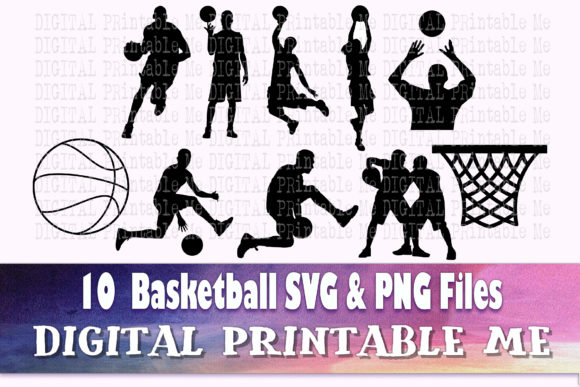 Print on Demand: Basketball Svg Bundle, Silhouette, PNG, Graphic Crafts By DigitalPrintableMe