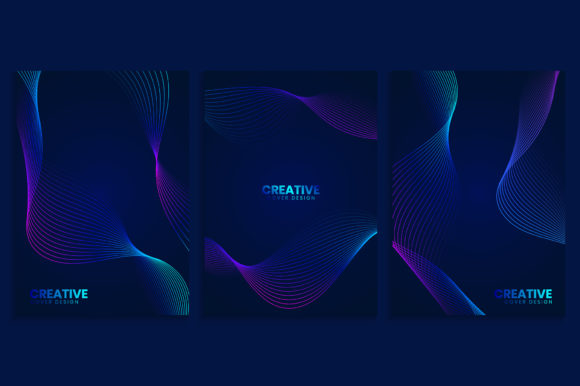 Blue Covers Design with Neon Wavy Lines Graphic Backgrounds By medelwardi