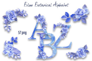 Print on Demand: Blue Floral Rose Botanical Alphabet Graphic Illustrations By ElenaZlataArt