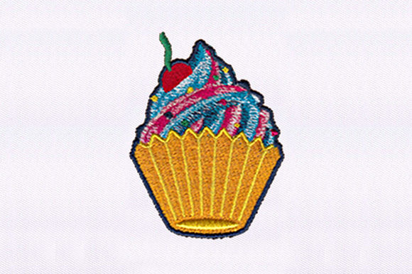 Colorful Cream Cupcake Dessert & Sweets Embroidery Design By DigitEMB