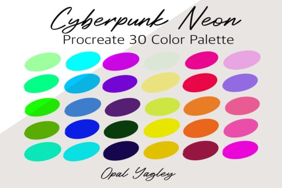 Print on Demand: Cyberpunk Neon Procreate Color Palette Graphic Add-ons By opal.yagley