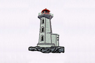 Detailed Lighthouse Beach & Nautical Embroidery Design By DigitEMB