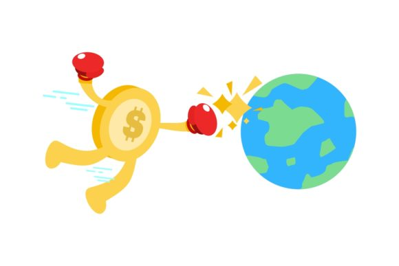 Gold Coin Dollar Punch World Cartoon Graphic Illustrations By Ardwork
