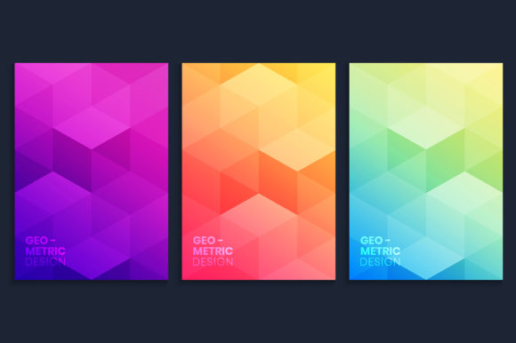 Gradient Covers Collection with 3D Cubes Graphic Backgrounds By medelwardi