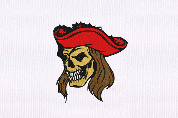 Hat Skull Pirate Pirates Embroidery Design By DigitEMB