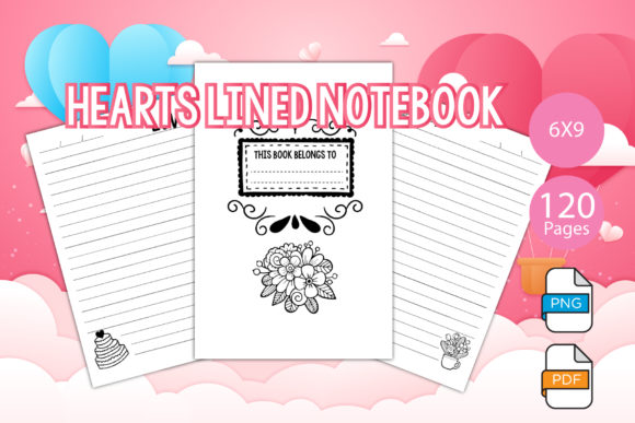 Print on Demand: KDP Interiors - Hearts Lined Notebook Graphic KDP Interiors By IsaraDesign